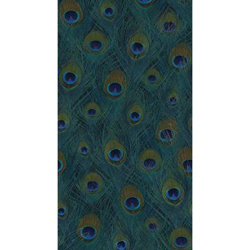 fotobehang pauwenveren zeegroen van Origin