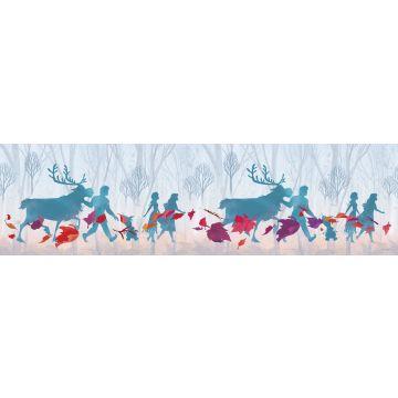 Disney zelfklevende behangrand Frozen lichtblauw, paars en rood