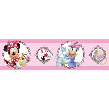 Disney zelfklevende behangrand Minnie Mouse & Katrien Duck roze