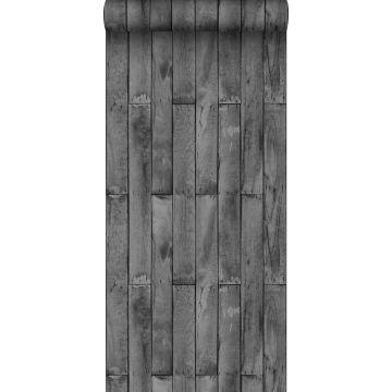 behang houtlook donkergrijs van Sanders & Sanders