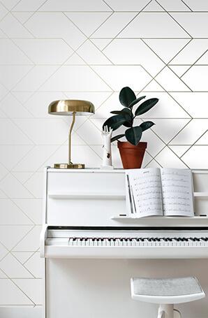grafisch behang wit en goud